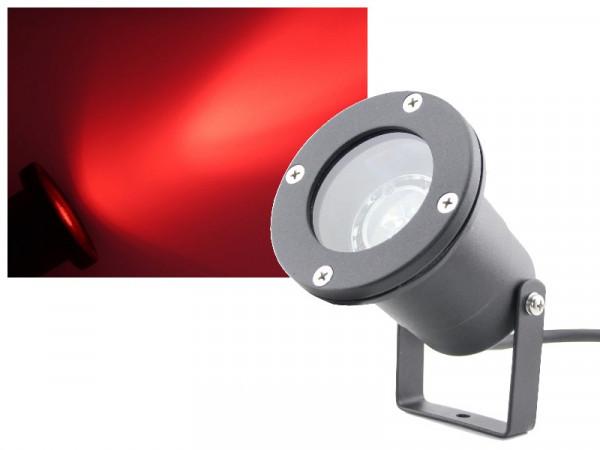 3W Power LED Gartenstrahler 230V rot