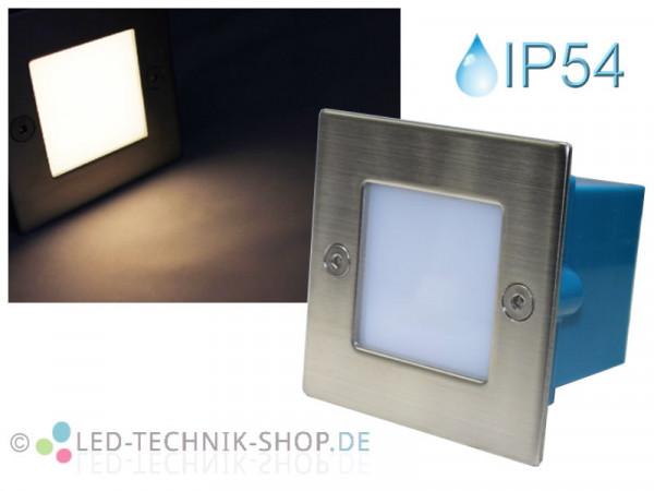Edelstahl LED Einbauleuchte IP54 warmweiss 230V