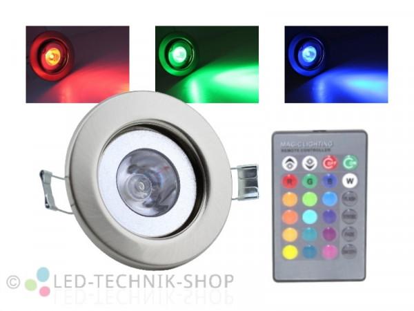 4W RGB LED Einbaustrahler starr chrom-matt