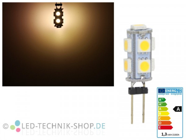 LED G4 9 SMD 1,2W warmweiss