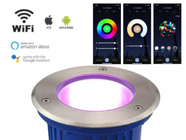 WiFi Smart LED Bodeneinbaustrahler 10W RGB+CCT IP67