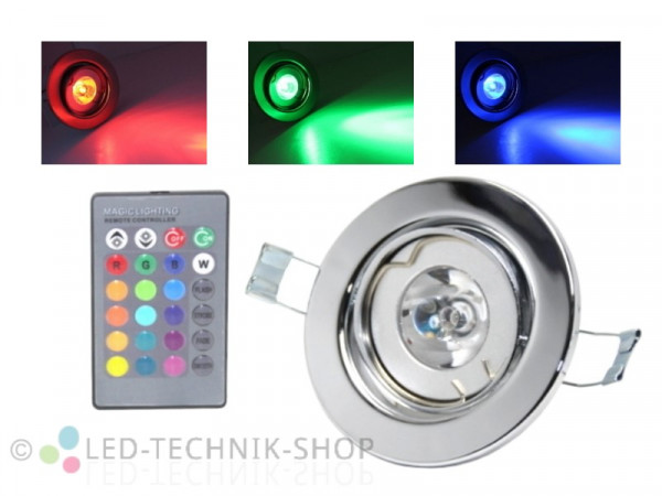 4W RGB LED Einbaustrahler schwenkbar chrom