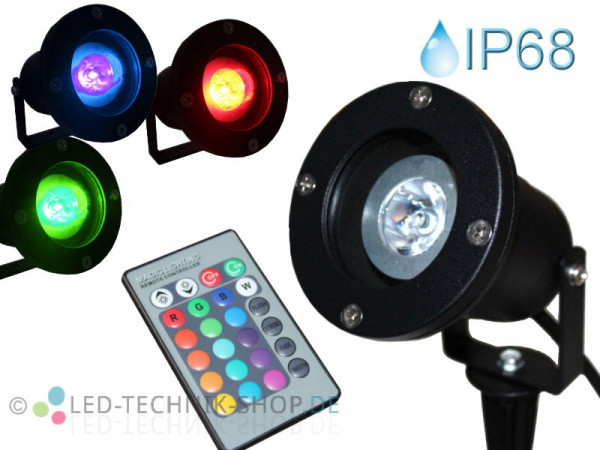 RGB LED Gartenstrahler mit Erdspieß