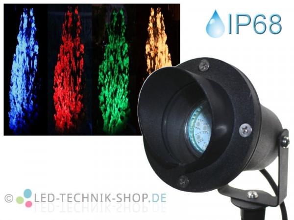 Gartenstrahler Teichstrahler mit Erdspieß IP68 farbig