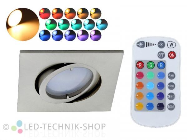 5W RGBW LED Einbaustrahler eckig + Fernbedienung