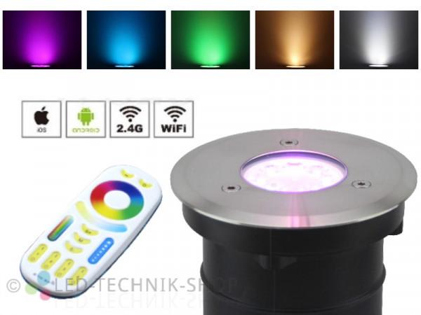 Premium Smart LED Bodeneinbaustrahler 4W RGB+CCT Funk WiFi WLAN