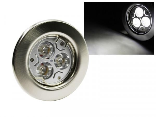 LED Einbaustrahler Downlight chrom-matt 230V starr 3W weiss