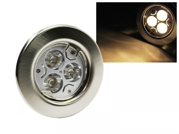 LED Einbaustrahler Downlight chrom-matt 230V starr 3W warmweiss