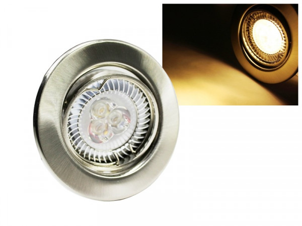 LED Einbaustrahler Downlight chrom-matt 230V schwenkbar 6W warmweiss