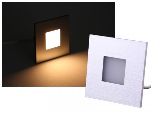 LED Wandeinbauleuchte Alu gebürstet 230V 2,5W warmweiss