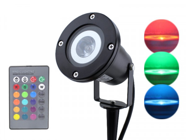 4W RGB LED Gartenstrahler P68 schwarz + Memory Funktion