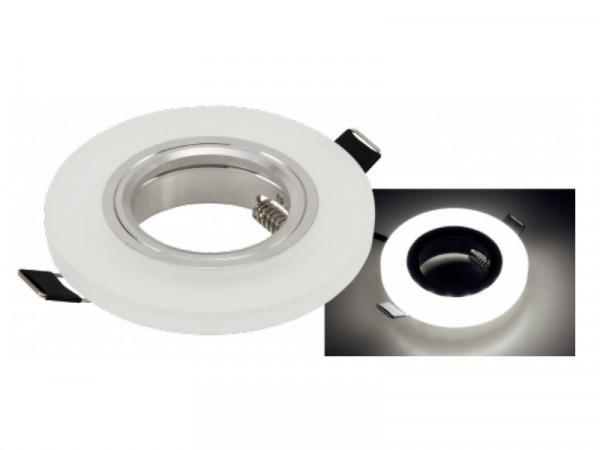 Einbaufassung Milchglas + LED neutralweiss rund GU10