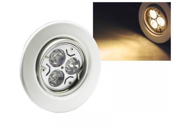 LED Einbaustrahler Downlight weiss 230V schwenkbar 3W warmweiss