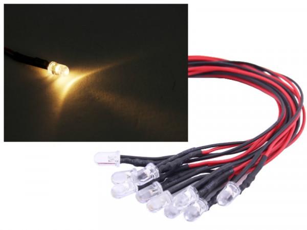 10x 5mm LED 12V warmweiss verkabelt