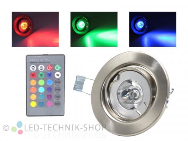 4W RGB LED Einbaustrahler schwenkbar chrom-matt