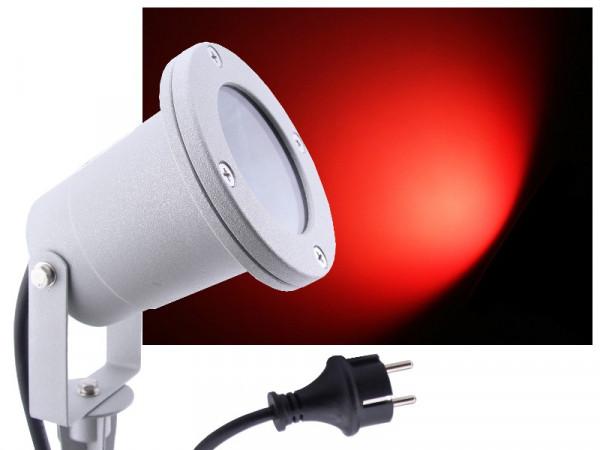 LED Gartenstrahler 7W rot IP68 230V silber