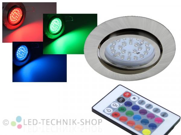 LED Einbaustrahler FLAT chrom-matt 3W RGB