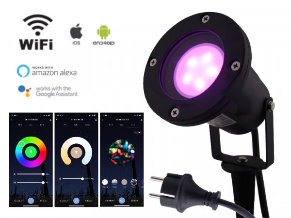 WiFi Smart LED Gartenstrahler 5W RGB+CCT IP68 schwarz